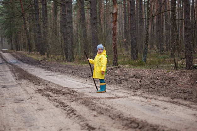 雨上がりの森の中を歩き、木の棒を手に持って黄色いレインコートを着た子供、カメラを見てください