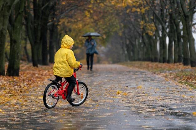 Ребенок в ярком плаще едет по мокрому от дождя парку. осенний парк. вид сзади
