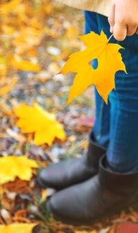 秋の公園で子供を残します。