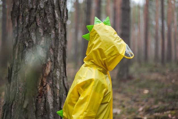 黄色いレインコートを着た子供は、雨と楽しみの後に森の中を歩きます