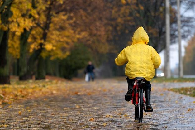 Ребенок в желтом плаще едет по аллее в осеннем парке. мальчик едет на велосипеде под дождем. вид сзади.