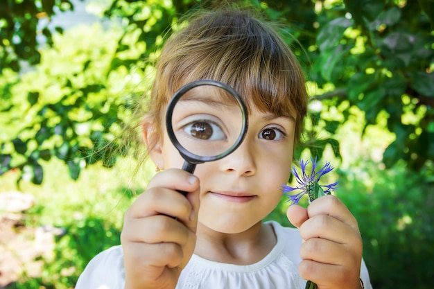 The child is looking in a magnifying glass. increase. selective focus.