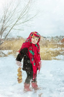 The child is winter. selective focus.