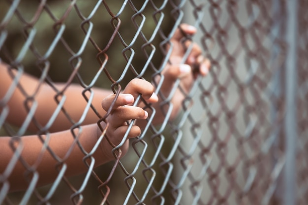 Child little girl hand holding steel mesh in vintage color tone