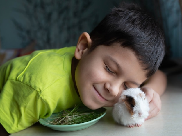 Child and little guinea pig