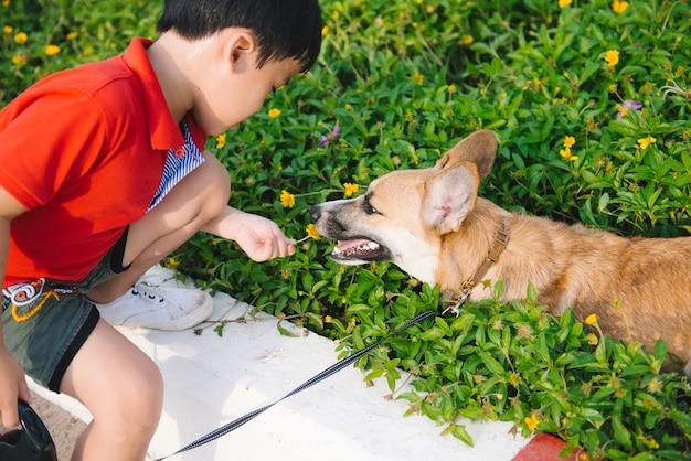 子供は愛情を込めて彼の愛犬、ペンブロークコーギーを抱きしめます
