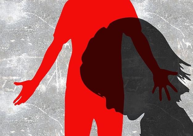 Child man silhouette violent beat hand