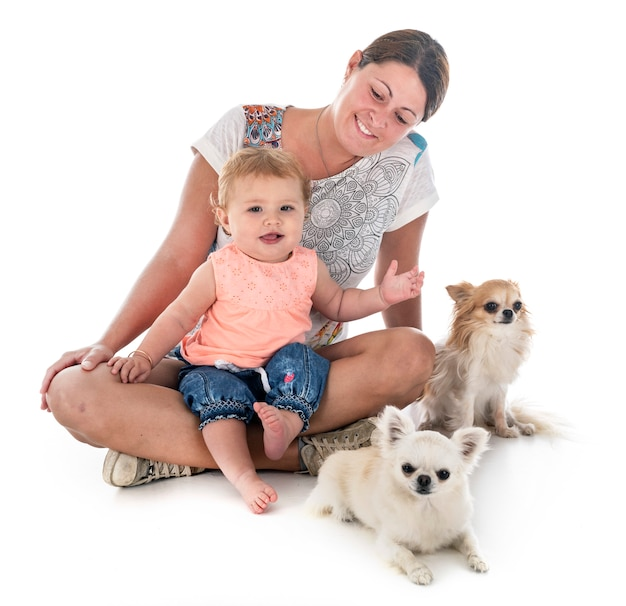Child, mother and dog