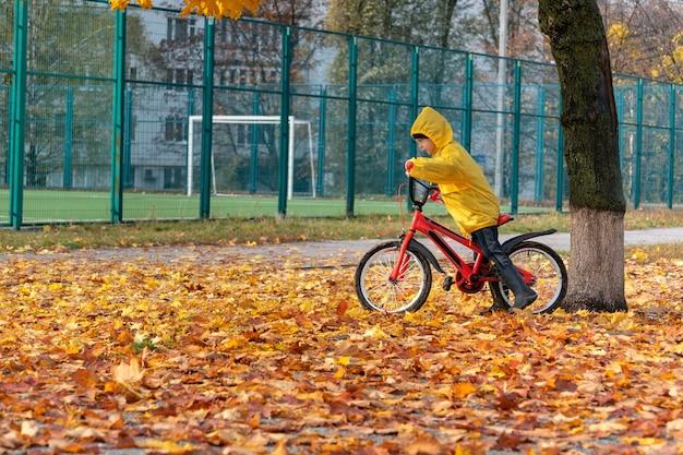 Ребенок на велосипеде на детской площадке, фоне желтых опавших листьев. мальчик в желтом пальто. осенний день.
