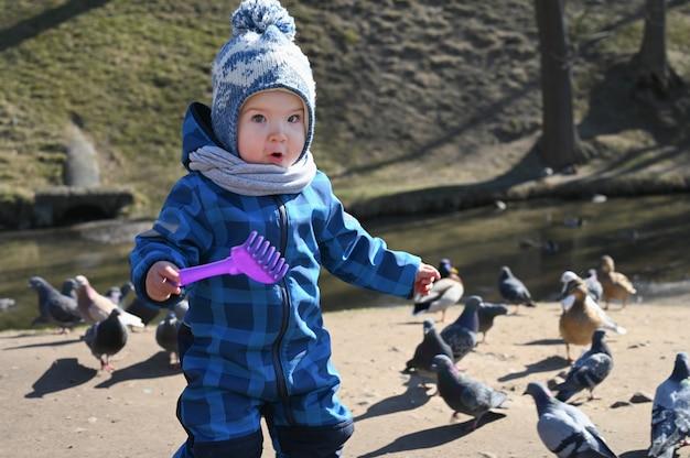 Ребенок играет на улице с голубями. ребенок и голуби.
