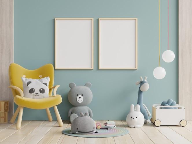 노란색 안락의자와 조롱 포스터 프레임이 있는 어린이 방.3d 렌더링