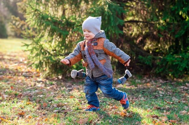 아이는 가을에 공원에서 실행