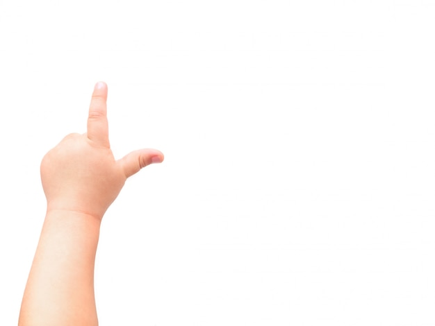 Child's hand. the child points at something with his index finger. flat lay, top view, copyspace.