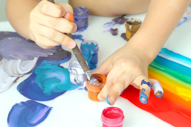 Child's hand draw painting colors on a white background. creativity of children in the field of drawing