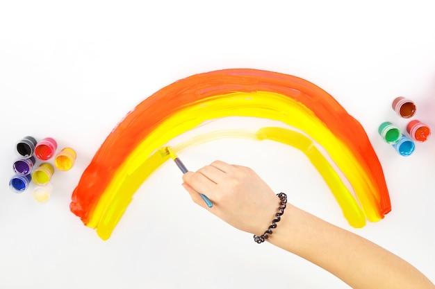 Child's hand draws a rainbow on a white background. creative work