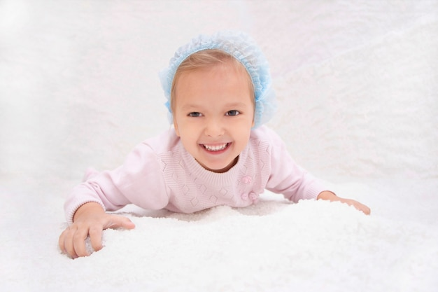 Child in salt room. halotherapy for treatment of respiratory diseases. applying salt therapy in the spa