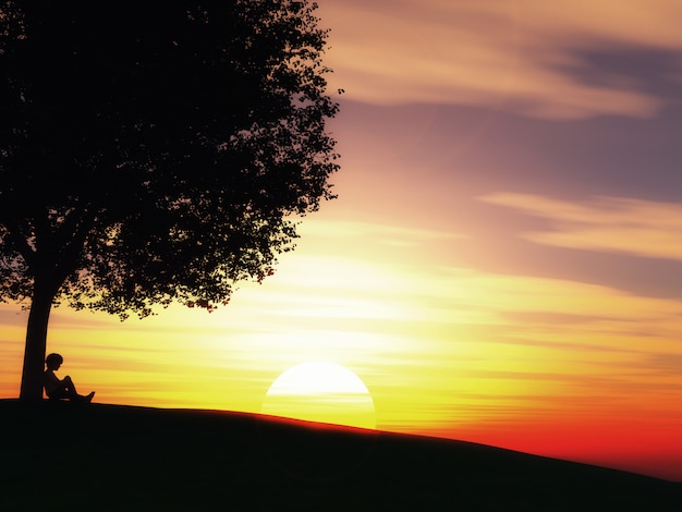 Child sat under a tree against a sunset landscape