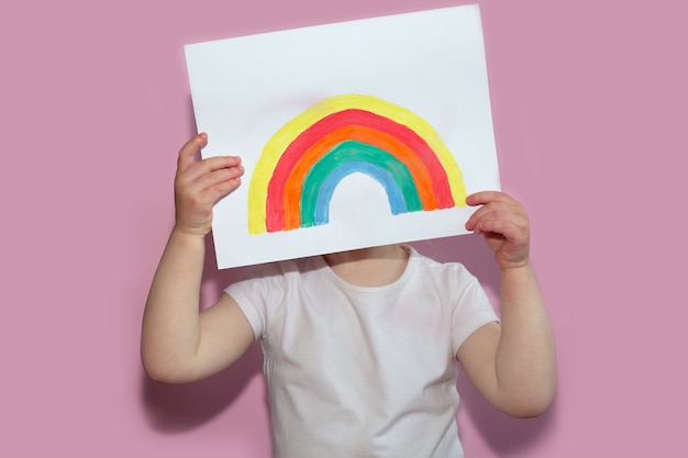 A child shows a drawing of a rainbow during pandemic coronavirus quarantine.