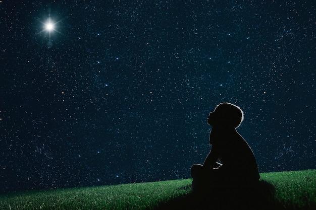 子供は夜草の上に座って、クリスマスの夜空を見てください