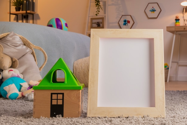 Child toys still life with frame template