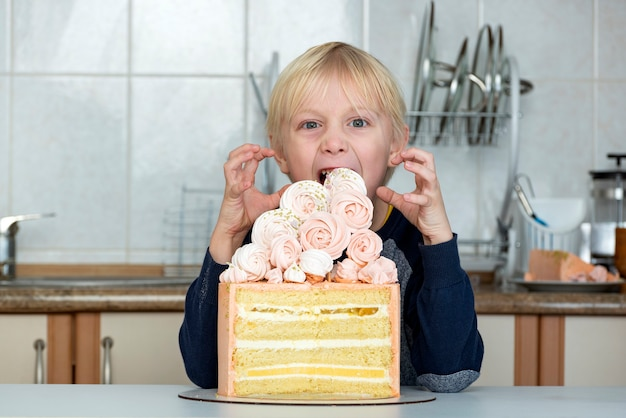 Child wants to eat the cake. kid greedily looks at the cake.