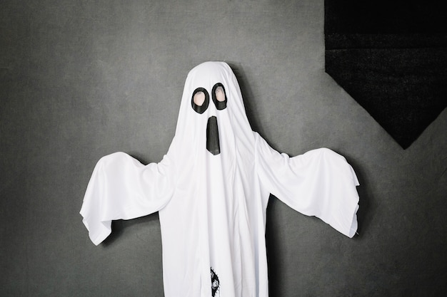 Child wearing spooky ghost costume