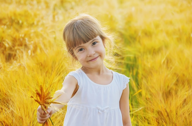 Child in a wheat field. selective focus. nature