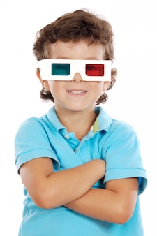 Child whit 3d glasses a over white background