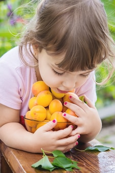 Child with apricots. selective focus.