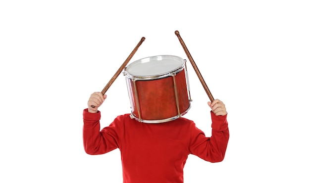 Child with a drum on the head