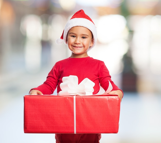 Child with a large gift