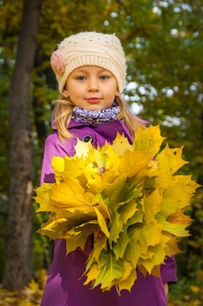 Child with yellow leaves a bouquet of yellow leaves fallen leaves maple yellow leaves
