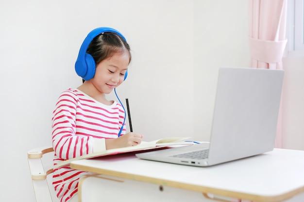 ラップトップでヘッドフォン学習オンライン学習クラスを書いたり使用したりする子供