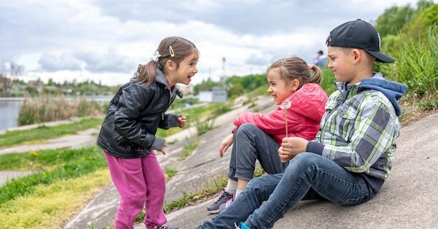Дети что-то обсуждают, сидя на природе с одуванчиками в руках.