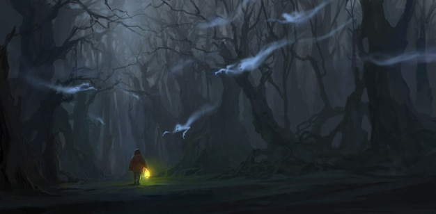 The children are in the jungle with many ghosts illustration.