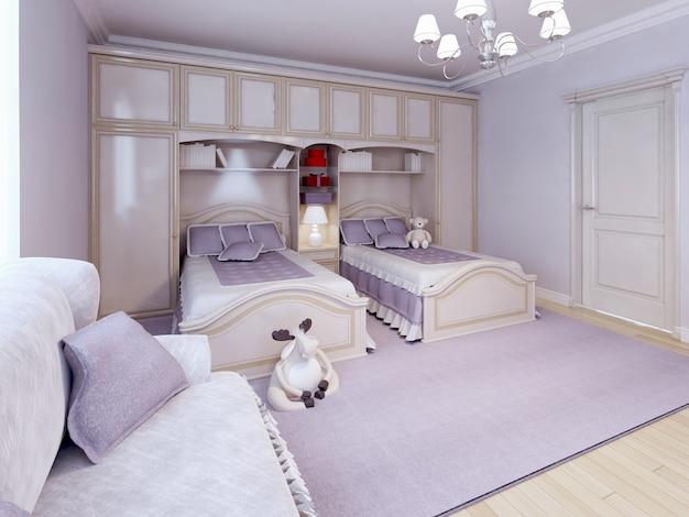 Children bedroom / kids room with purple decoration