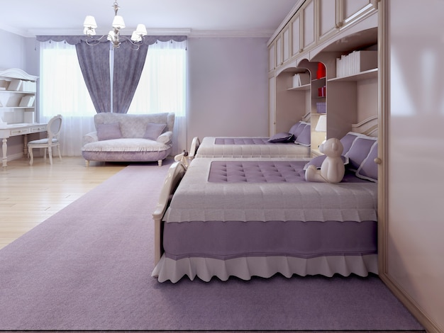 Children bedroom with sofa and desk