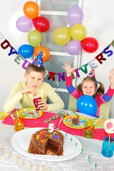 Children at big funny birthday party