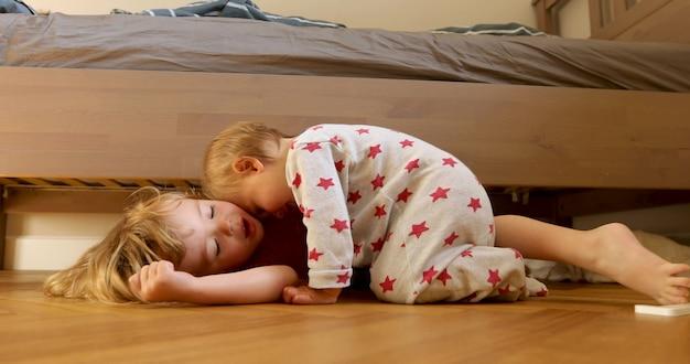 Children bonding on floor