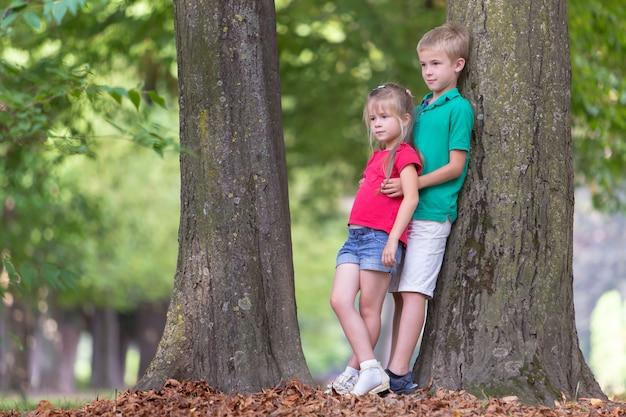 子供男の子と女の子の夏の公園で大きな木の幹の近くに立って