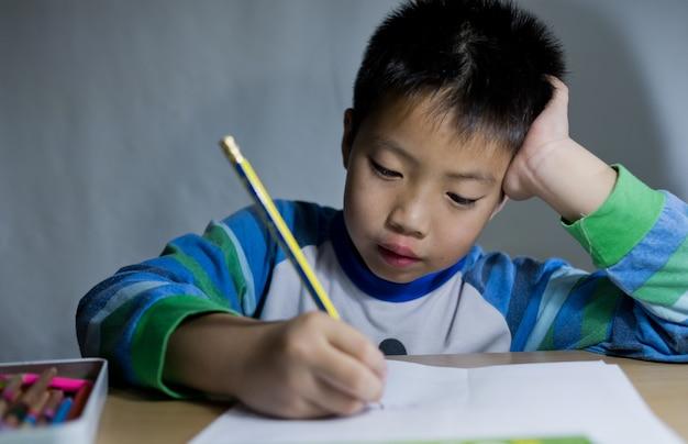 Children boy doing homework