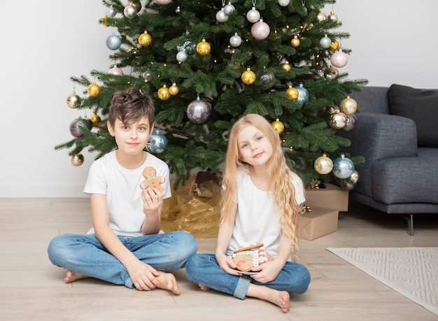 Children - a boy and a girl eating christmas gingerbread near the christmas tree in the living room
