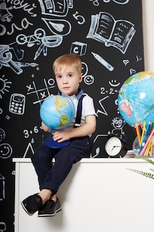 Children boy student study school first september