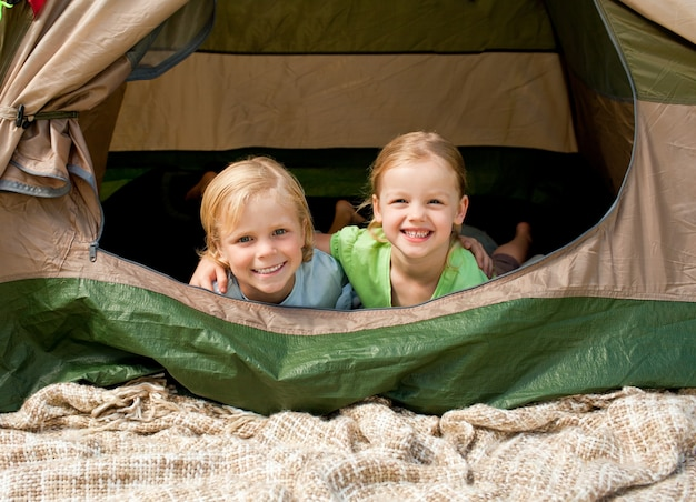 Children camping in the park