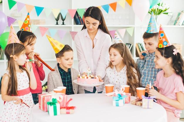 Children celebrating a birthday