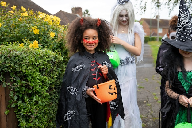 Children in costumes going to trick or treat