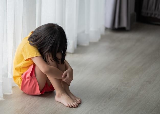 Children crying, little girl feeling sad, kid unhappy