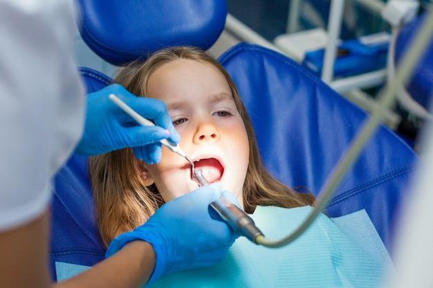 Children in dentist examination