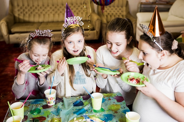 Groovy Children Eating Birthday Cake Free Photo Funny Birthday Cards Online Inifofree Goldxyz