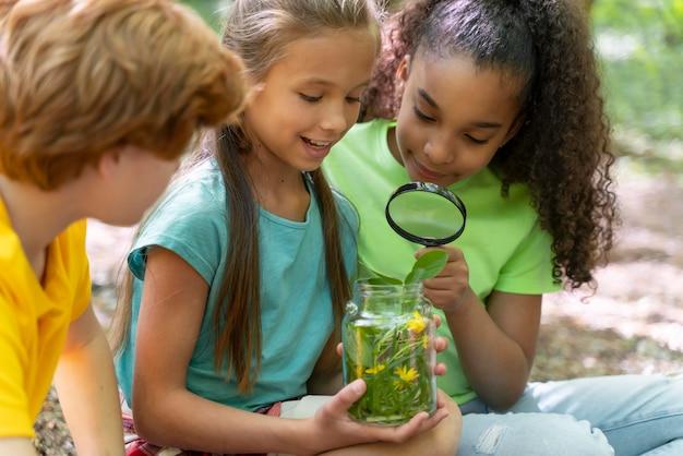 Дети вместе исследуют природу